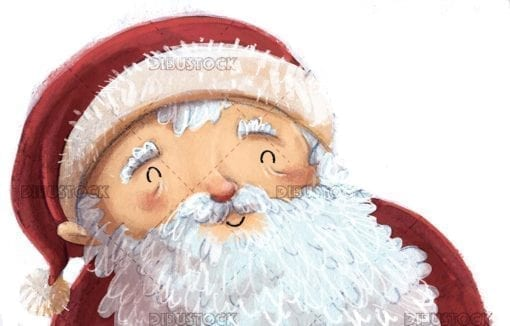 happy face of santa claus with isolated background