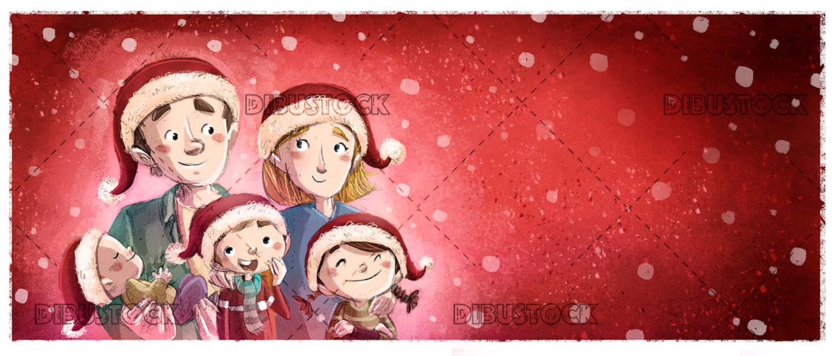 happy family with christmas hat while snowing