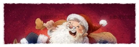 happy santa claus with his sack with red background