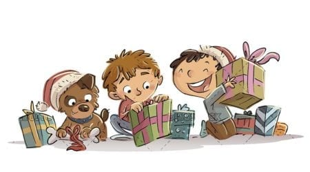 kids and dog opening presents at christmas on isolated background