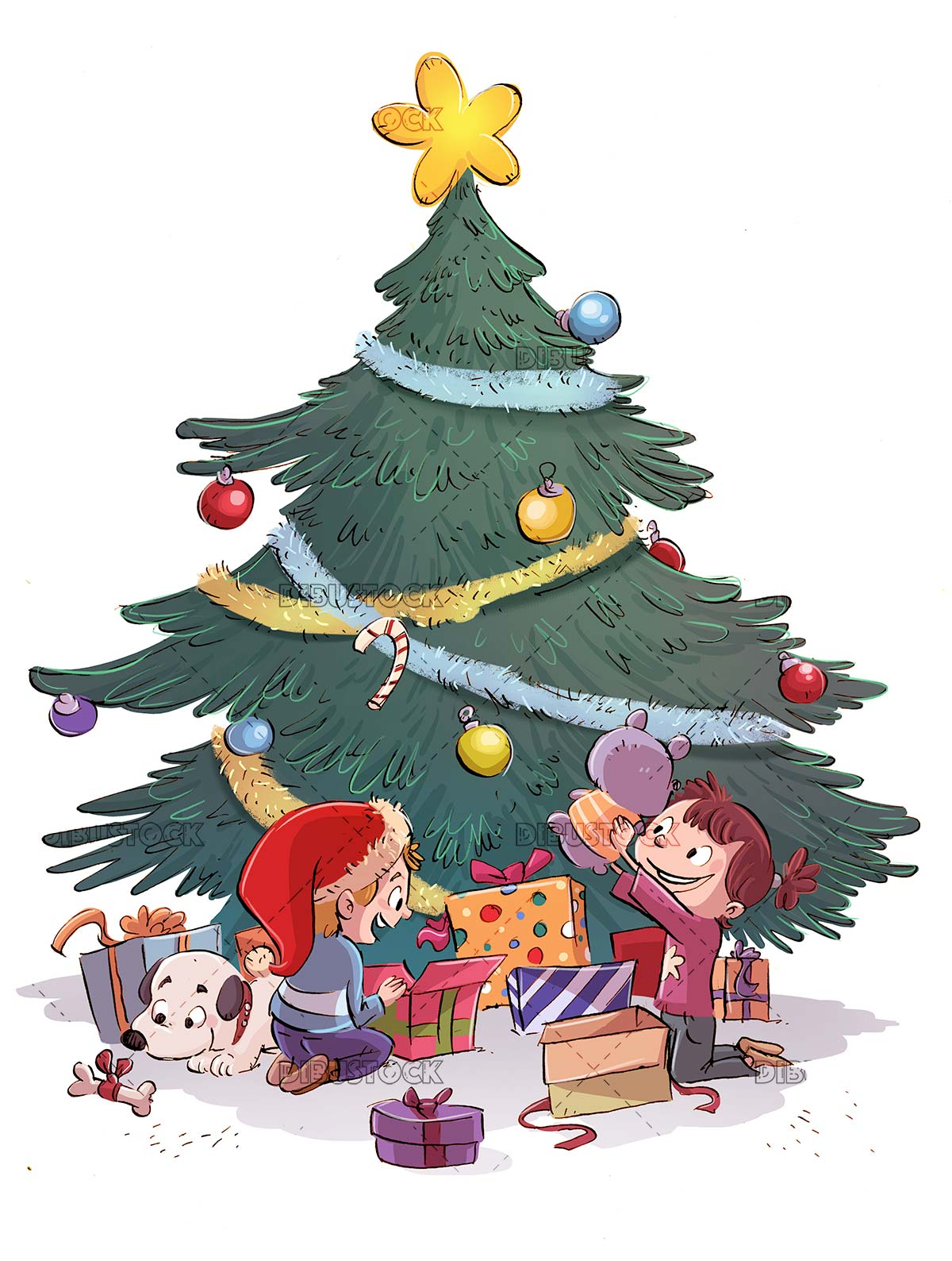 kids and dog opening presents under the christmas tree