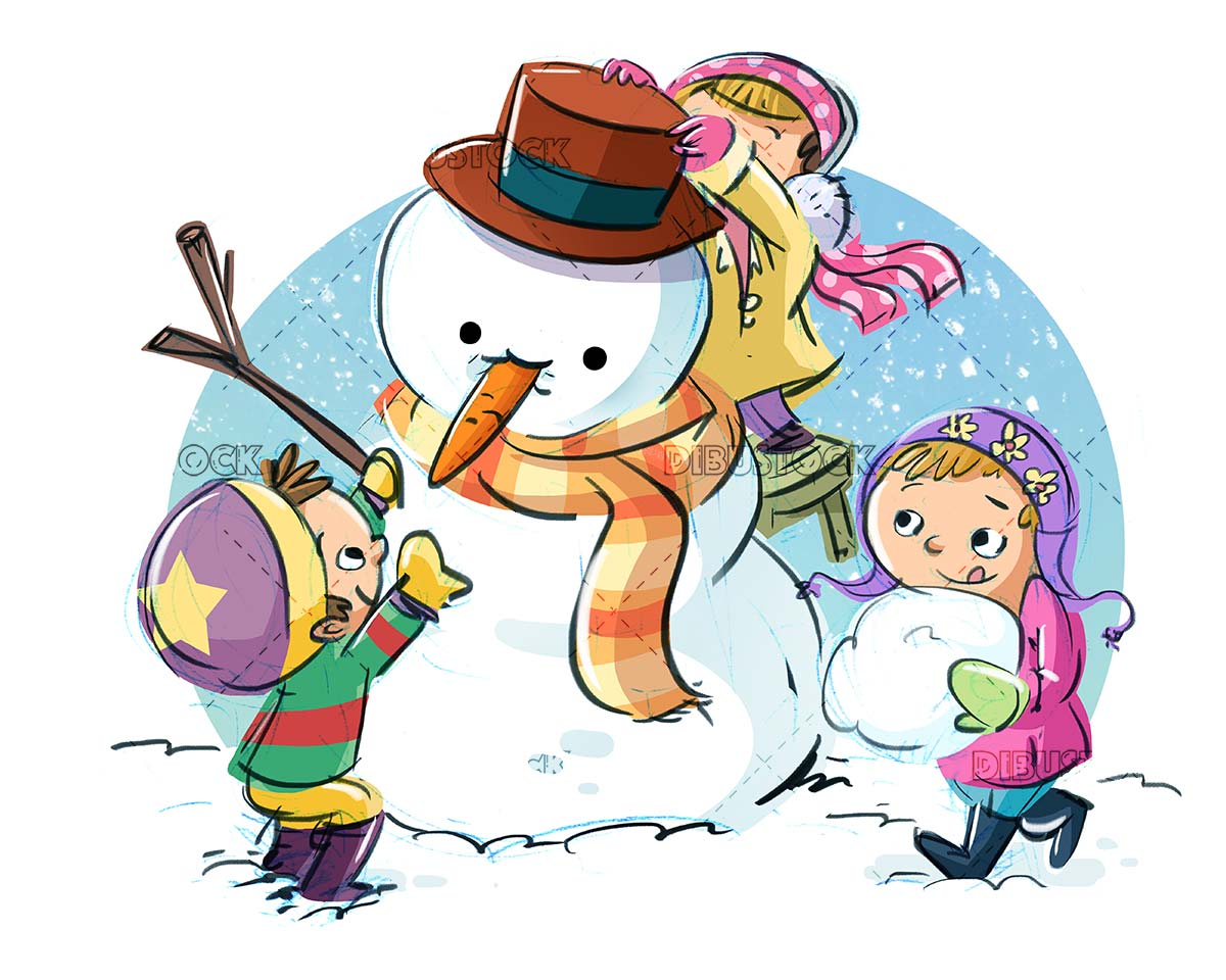 kids decorating a snowman while snowing