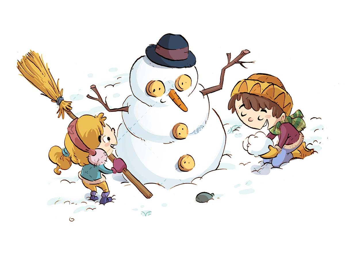 kids playing with the snow and making a snowman