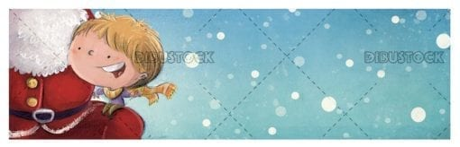 little boy sitting on the lap of santa claus with snowing background