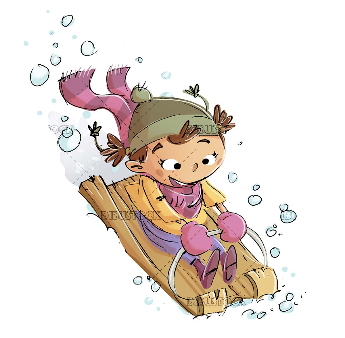 little girl on sled on isolated background