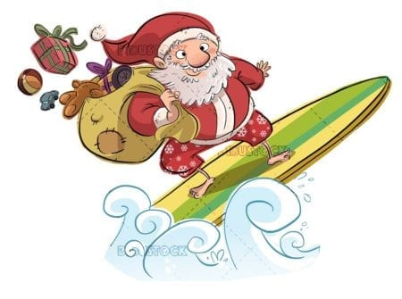 santa claus surfing with isolated background