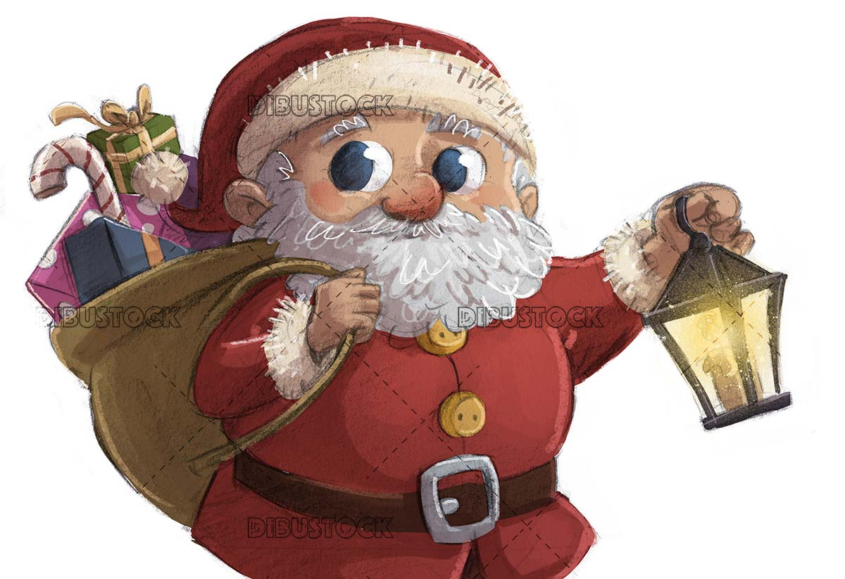 santa claus with lamppost in hand and isolated background