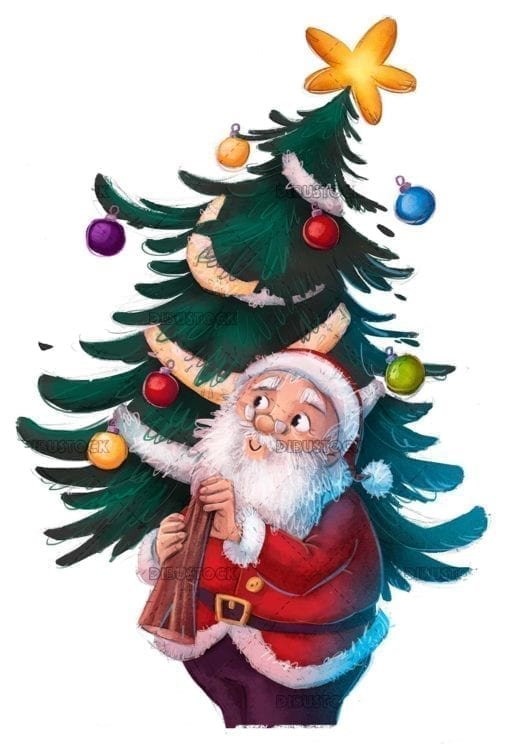 santa claus with ornate christmas tree isolated
