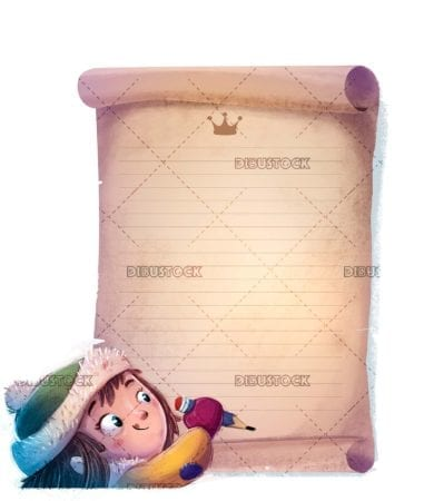 small girl writing a letter to the magic kings isolated