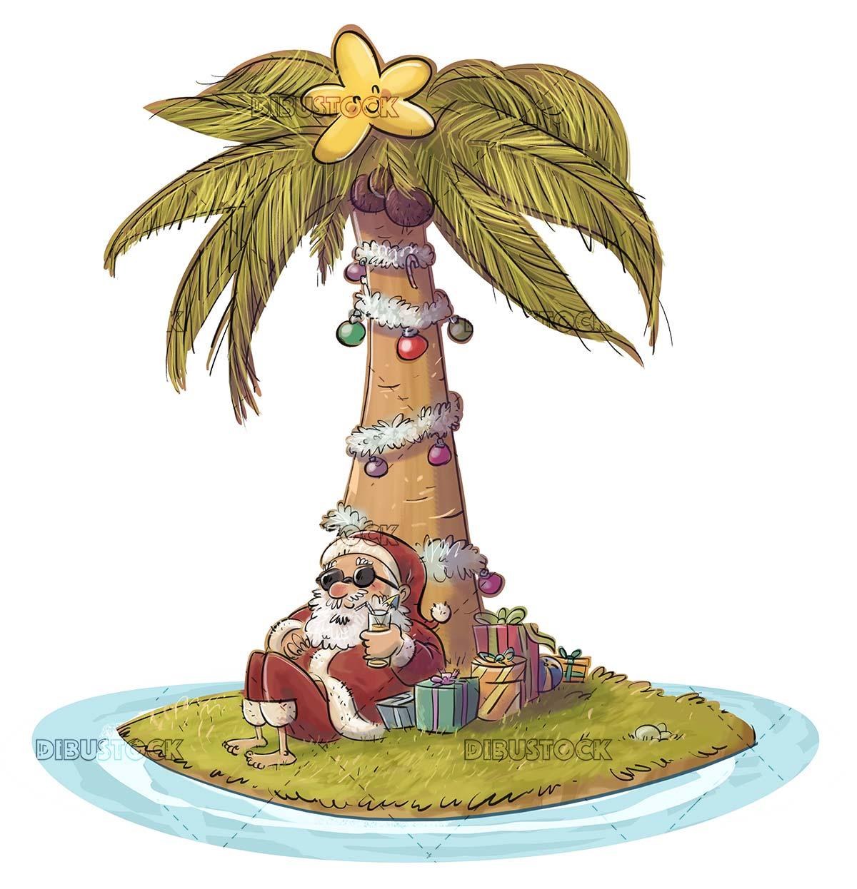 summer santa claus sitting on an island having a soda
