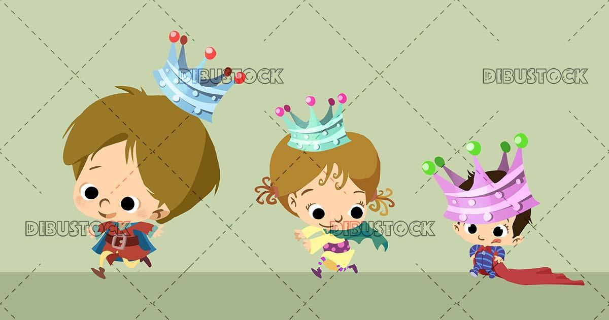 three funny children in wise men costume