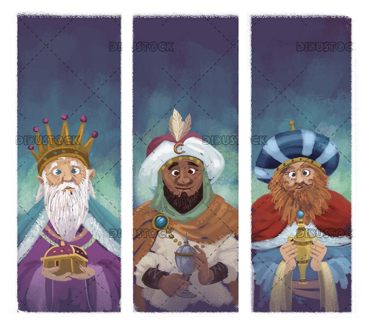 three wise men with offerings in their hands