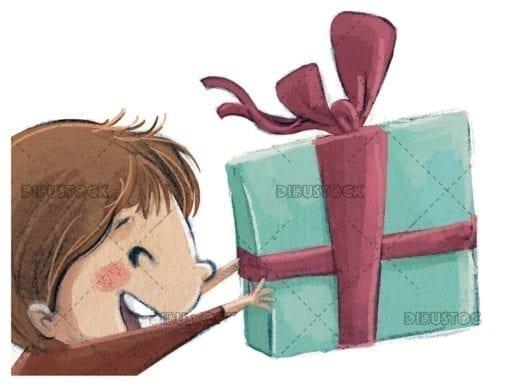 very happy boy receiving a gift with isolated background