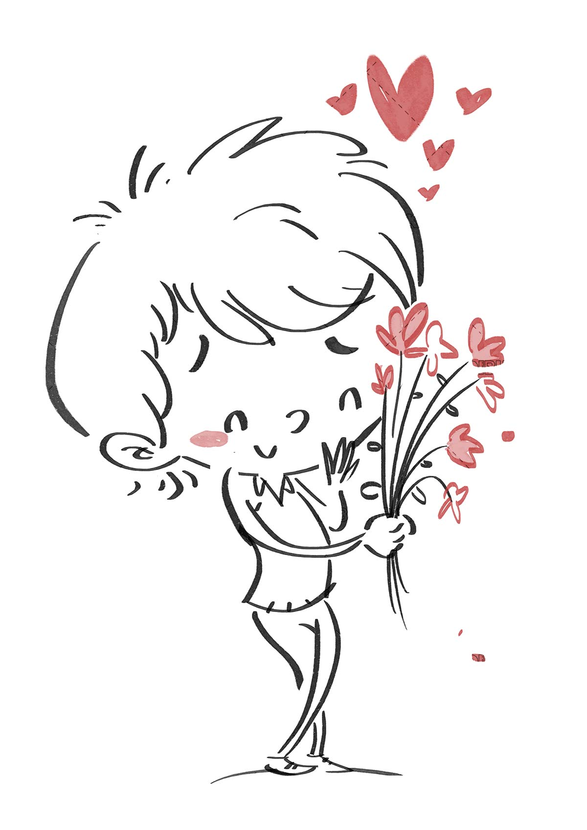 Boy in love with flowers. Black line