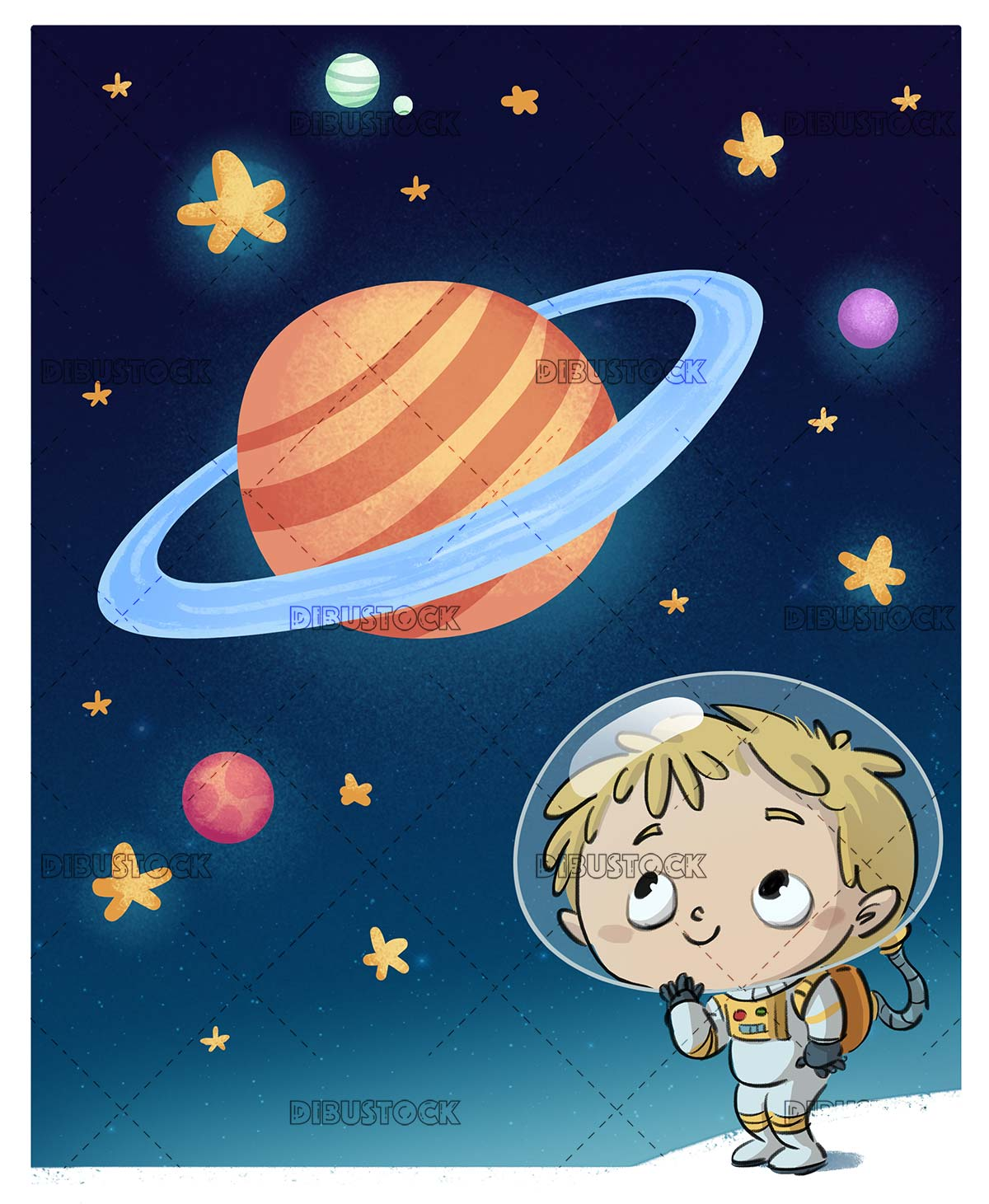 Boy in space suit in space with planets