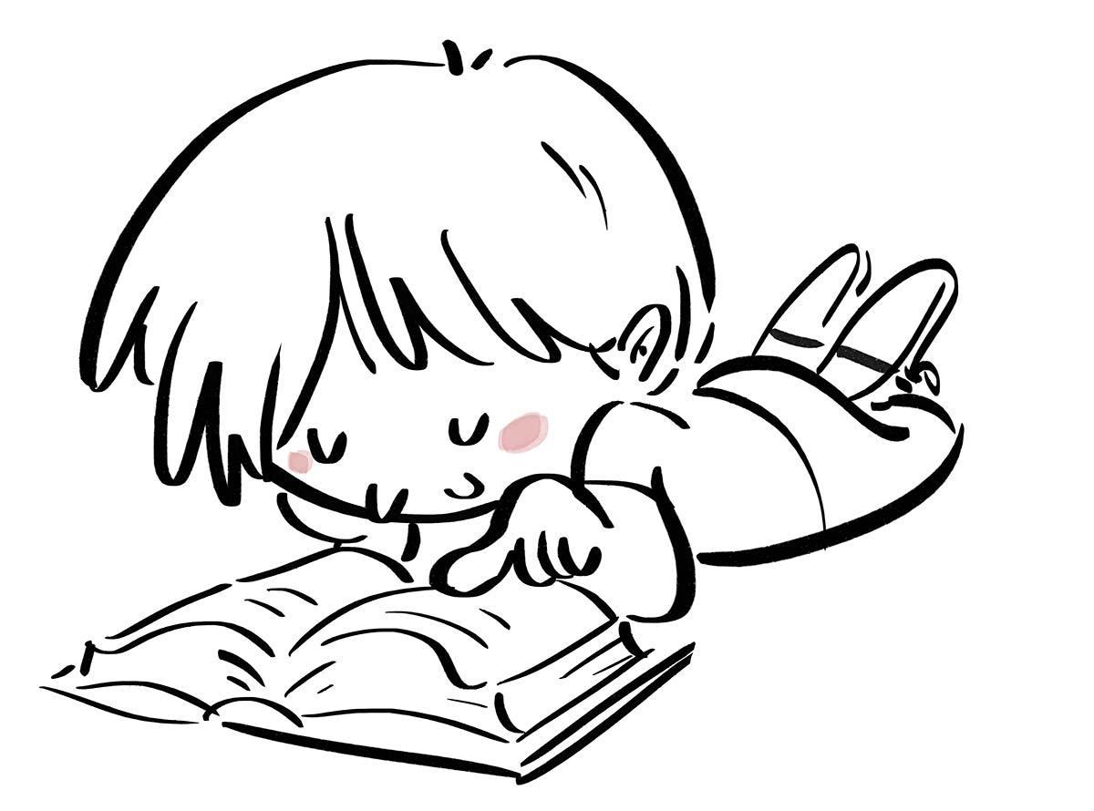 Boy lying reading a book. Black line