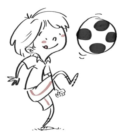 Boy playing with soccer ball. Black line