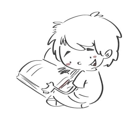 Boy sitting reading a book. Line drawing