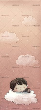 Boy sleeping on a cloud floating in the pink sky