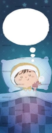 Boy sleeping with hat and toy at night