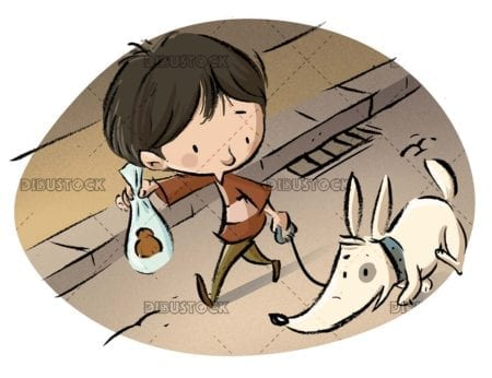 Boy walking his dog with a bag with poop