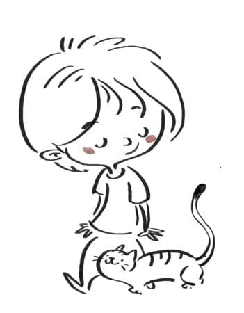 Boy walking with cat. line drawing