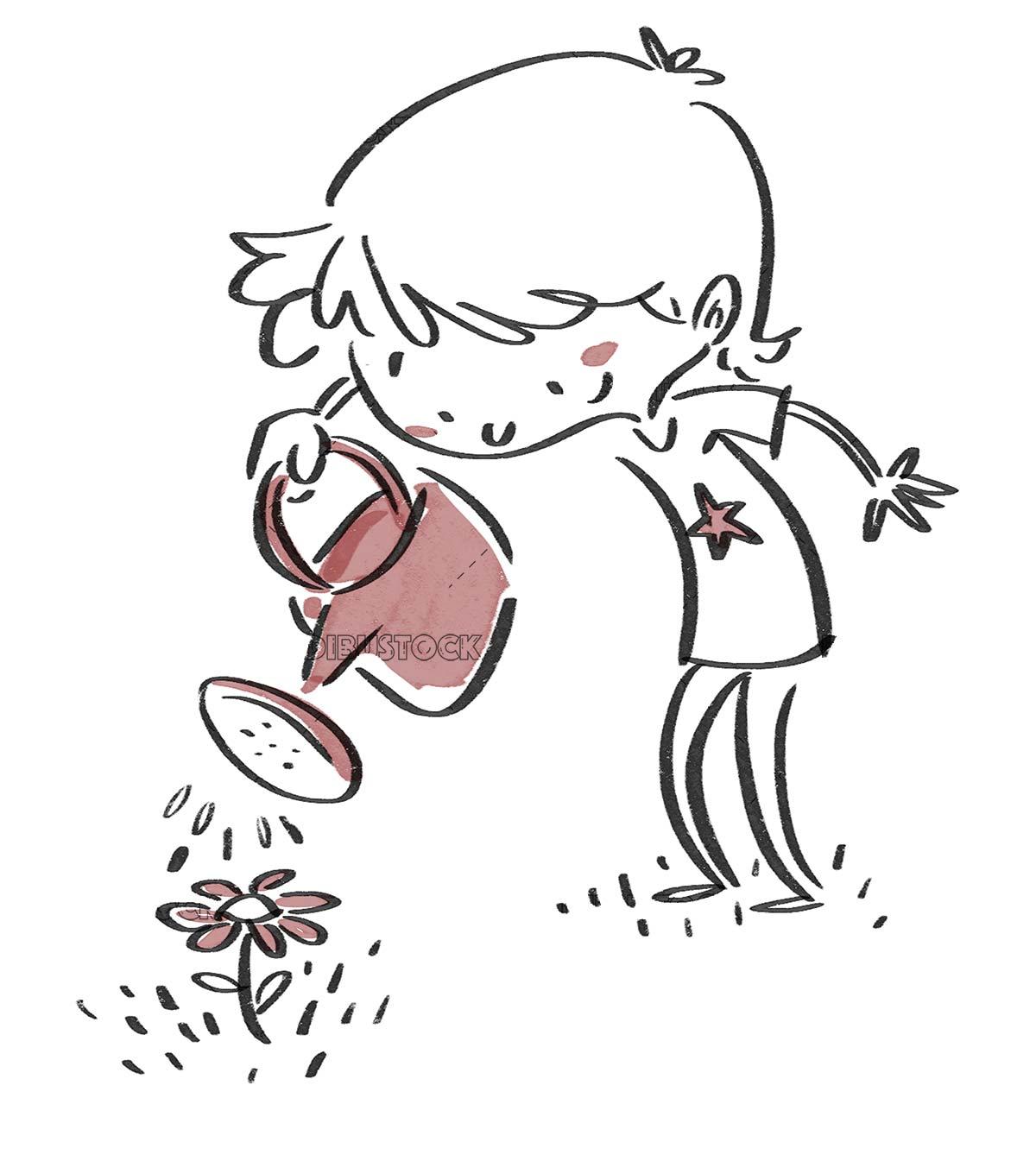 Boy watering a flower. Black line