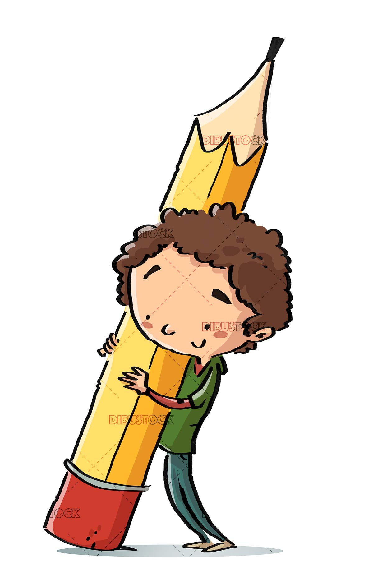 Boy with giant pencil and isolated background
