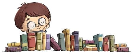 Boy with glasses looking at a group of books and isolated background