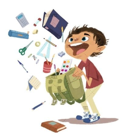 Boy with school supplies coming out of his magic backpack