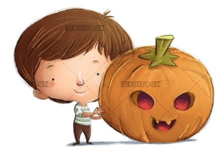 Child catching a big Halloween pumpkin on isolated background