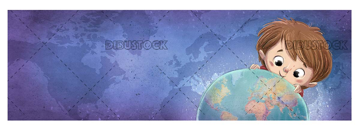 Child face with planet Earth and background with world map