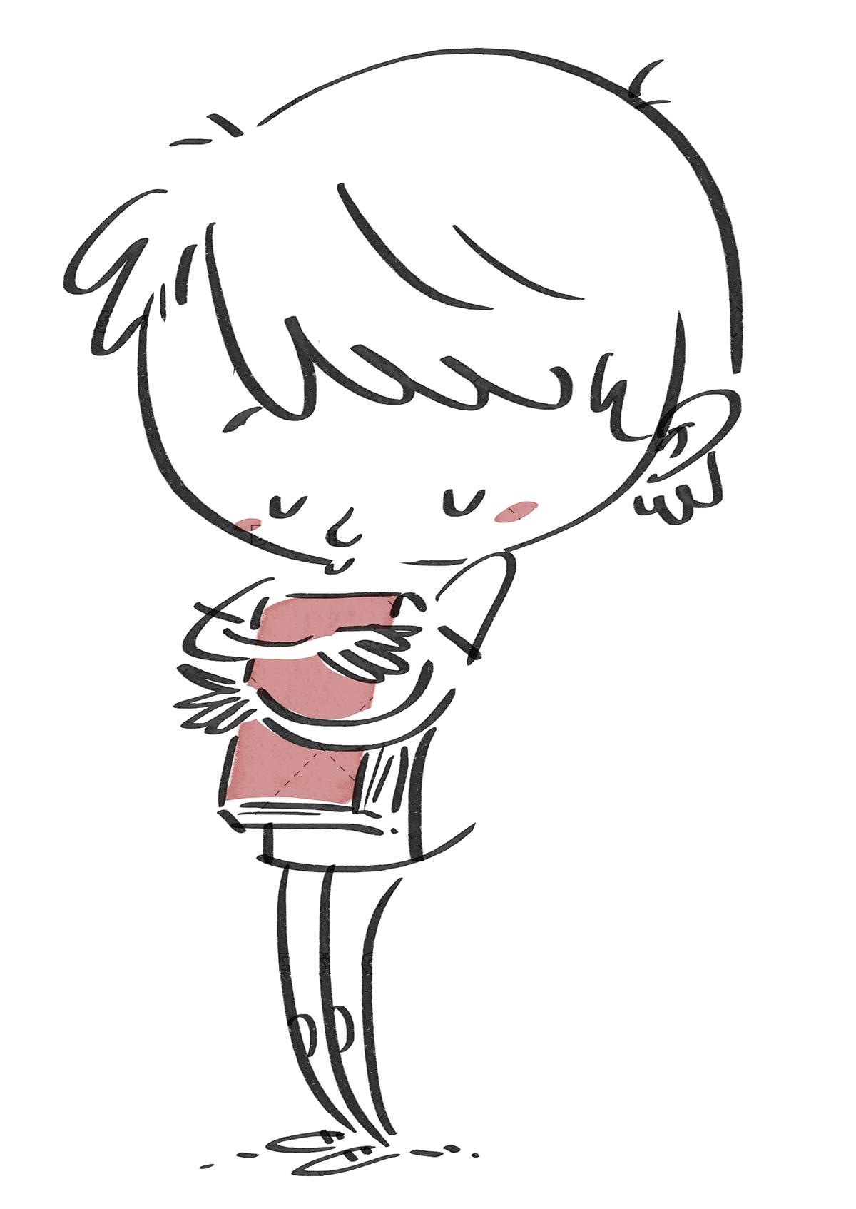 Child hugging a book. Black line