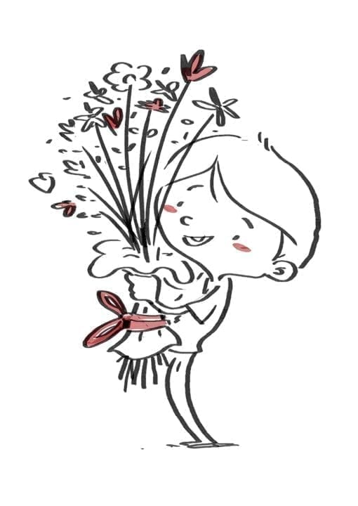 Child with bouquet of flowers. Black line