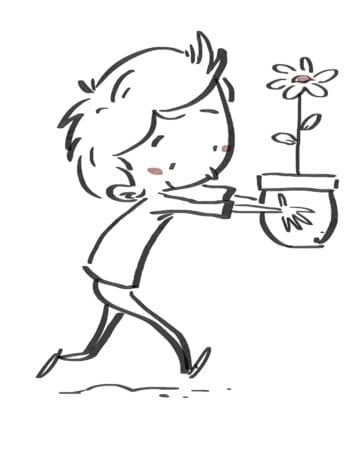 Child with flower in a pot. Black line