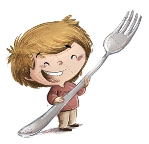 Child with giant fork on isolated background