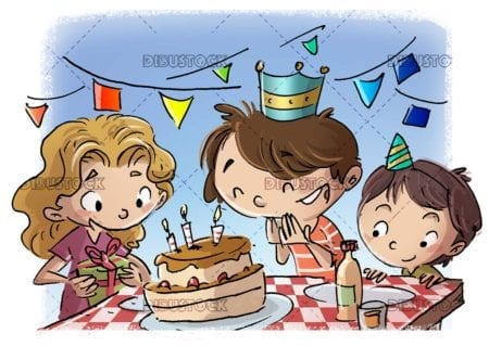 Children celebrating a birthday at the table with cake