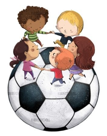 Children playing in chorus on giant soccer ball