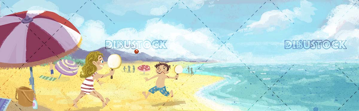 Children playing with rackets in the beach