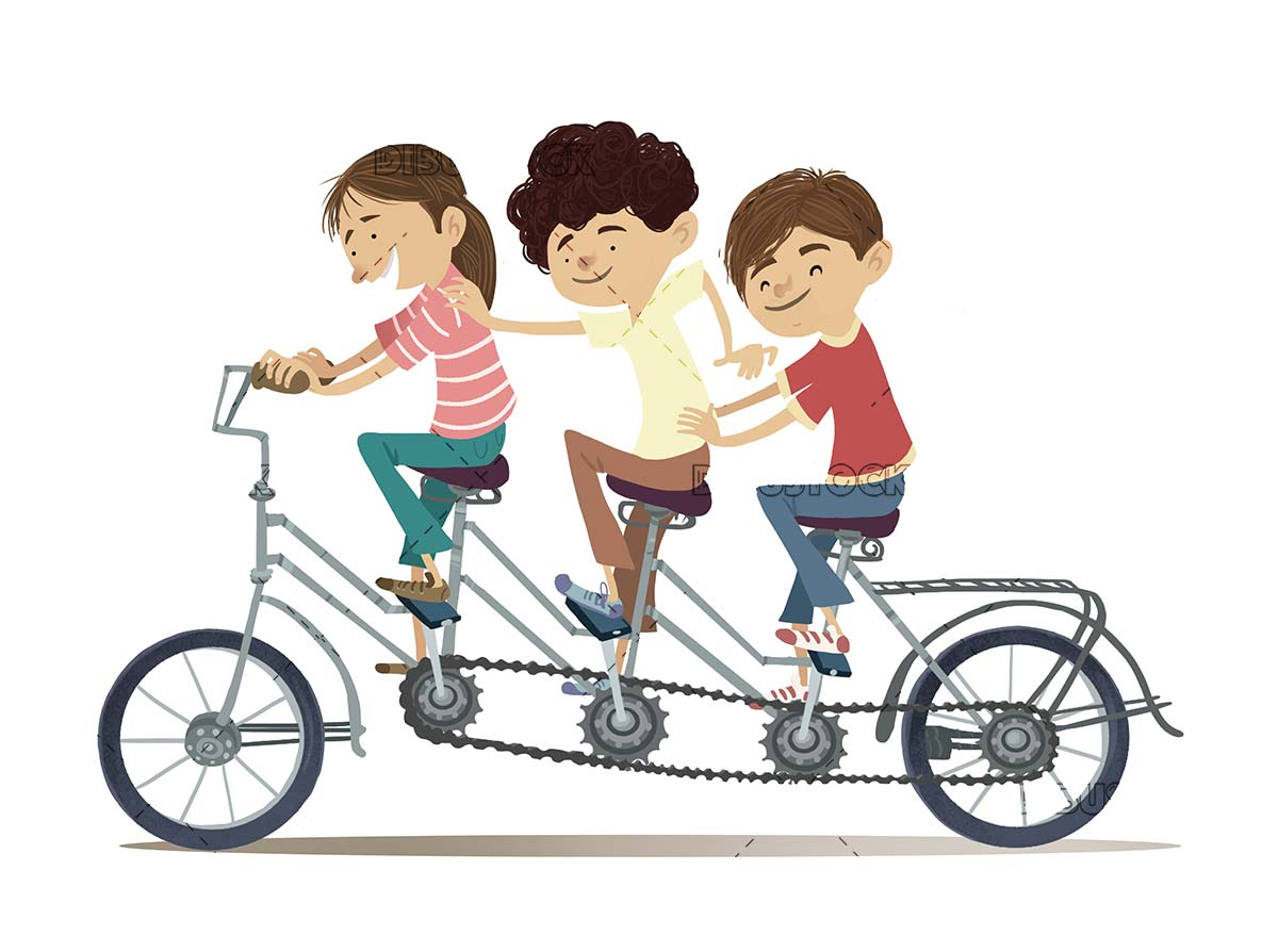 Children riding in a tandem for three people