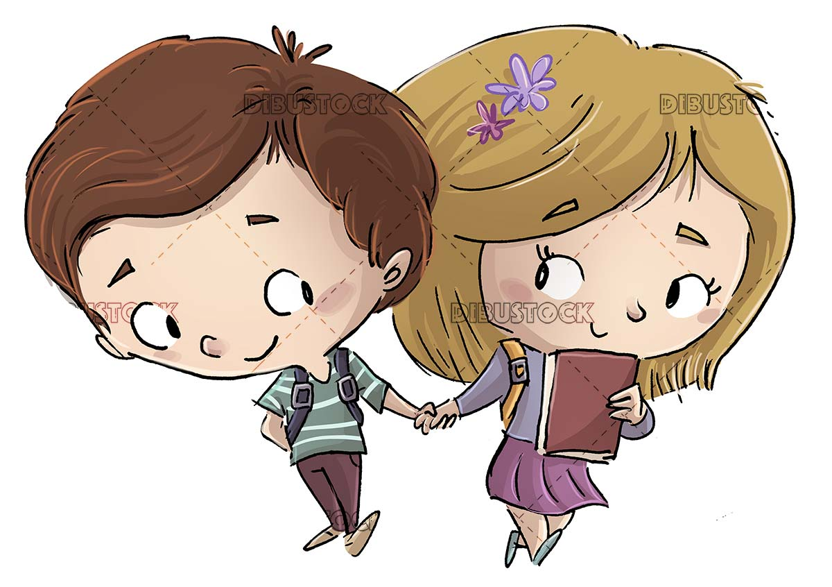 Children students in love holding hands with isolated background