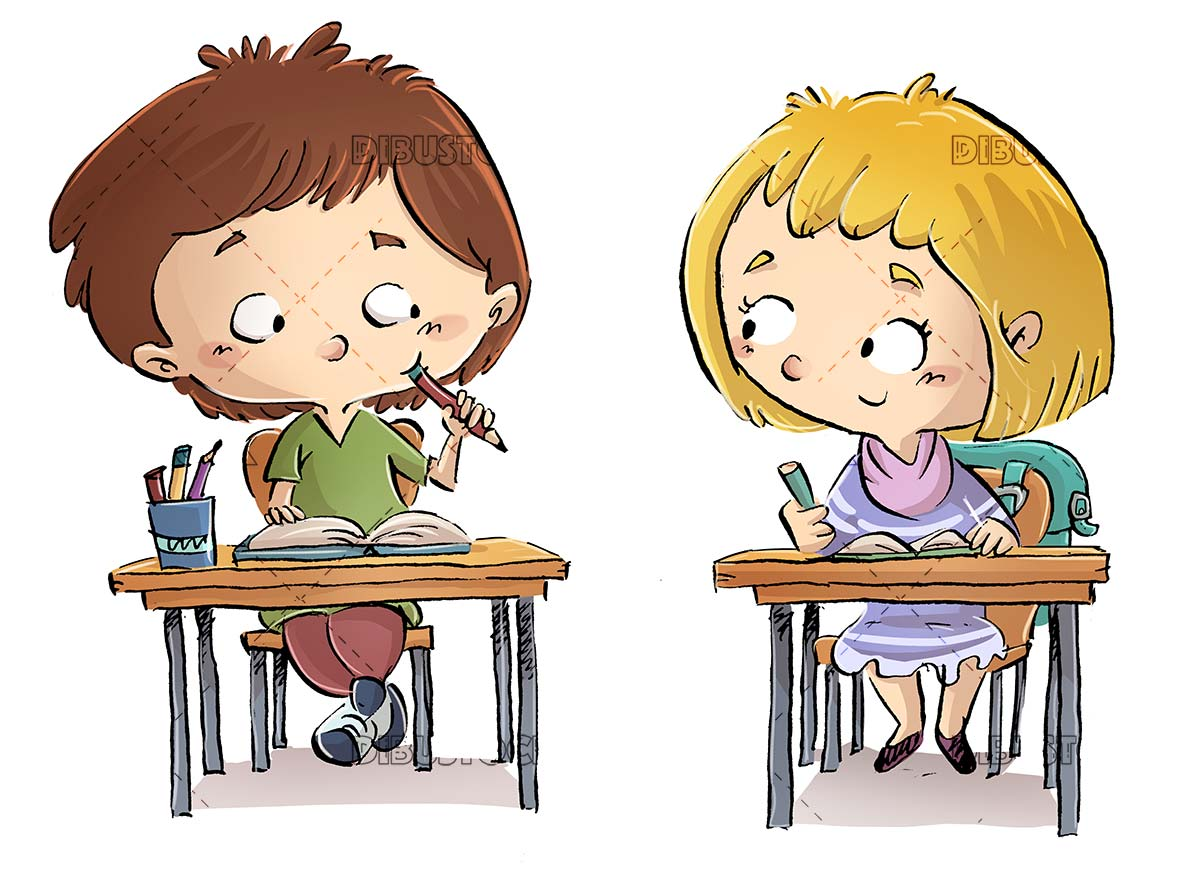 Children students sitting at a school desk on isolated background