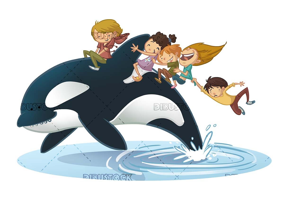 Children traveling on the back of a killer whale