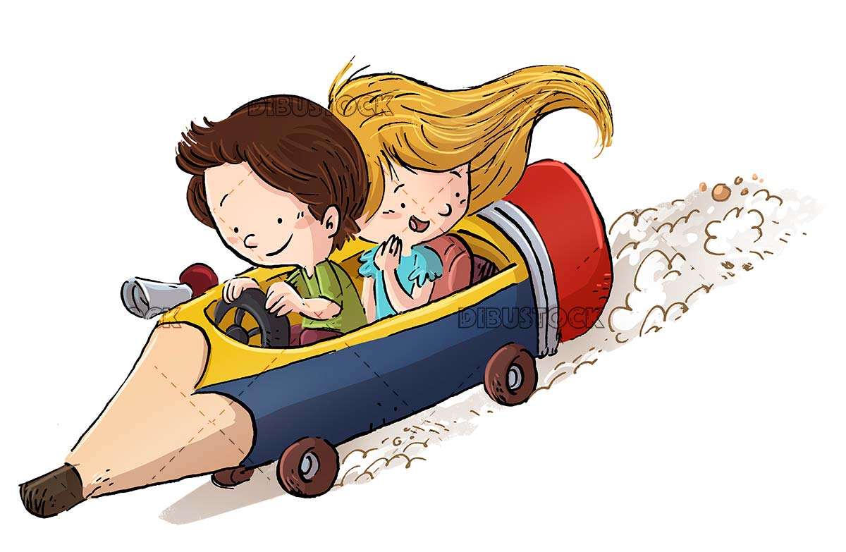 Children with pencil shaped car and isolated background
