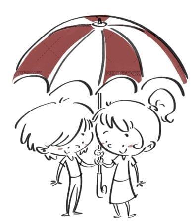Children with umbrellas. Black line