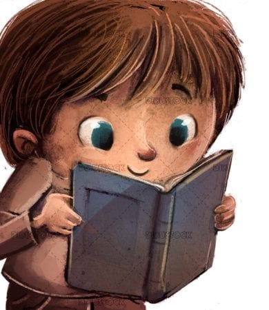 Childs face reading a book with attention on isolated background