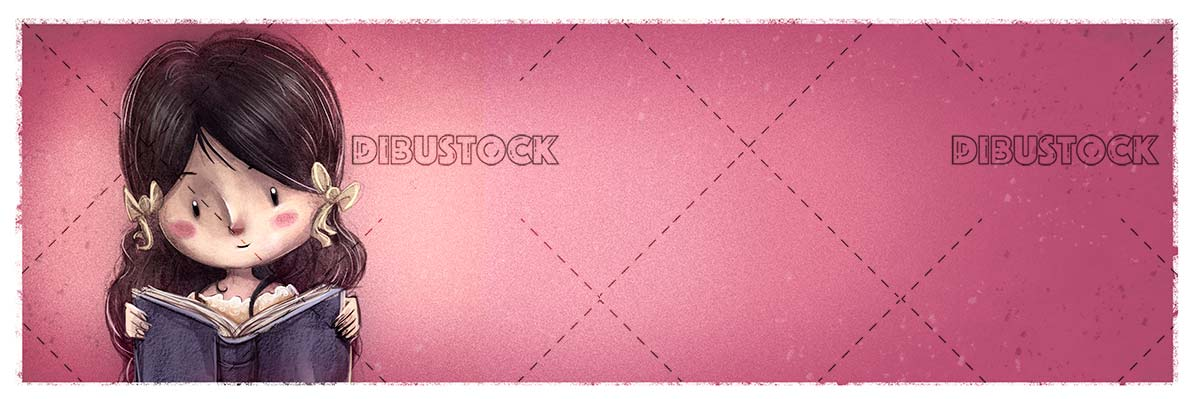 Classic girl reading a book with pink background