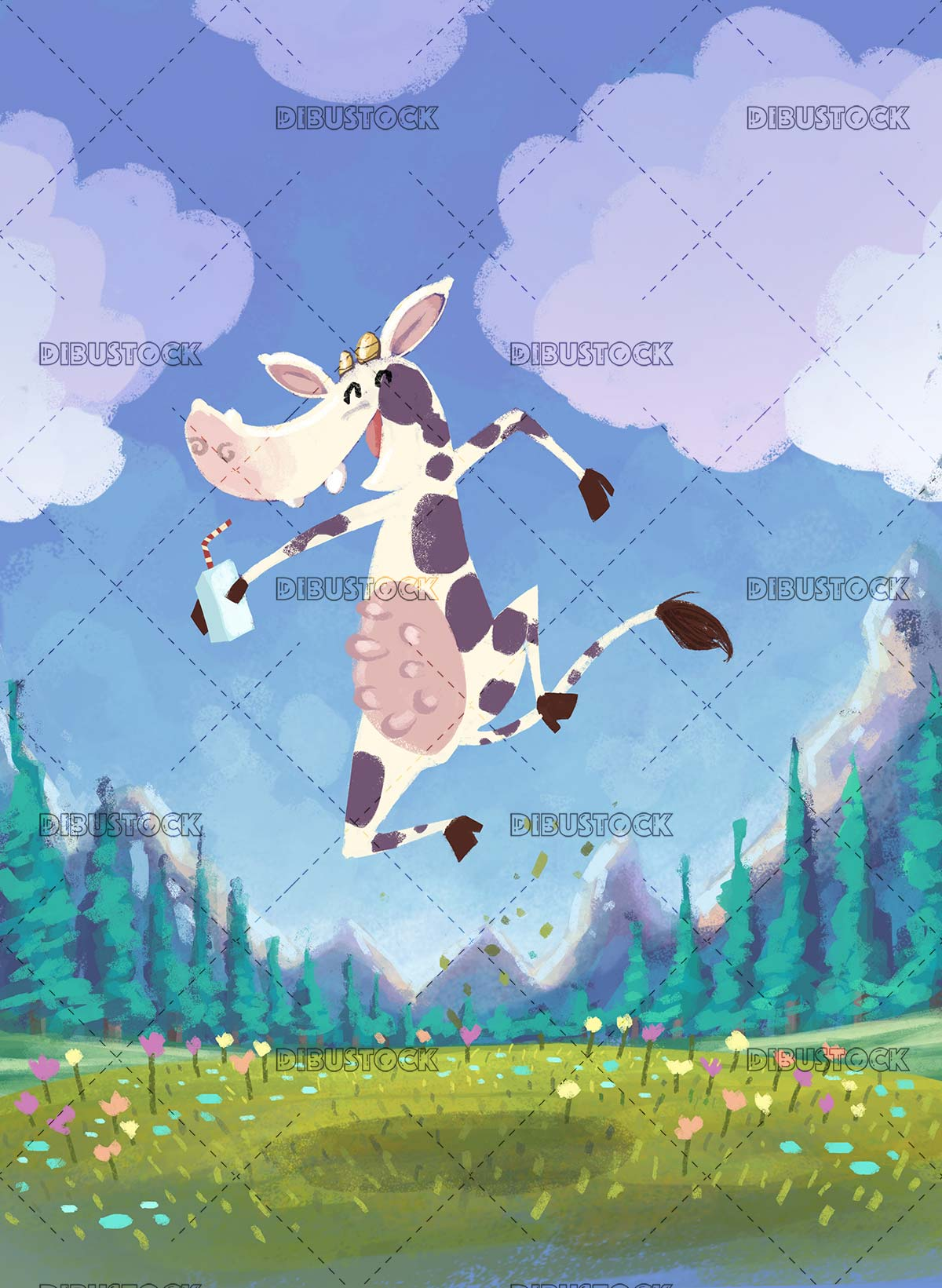 Cow jumping with a tetrabrik in a meadow