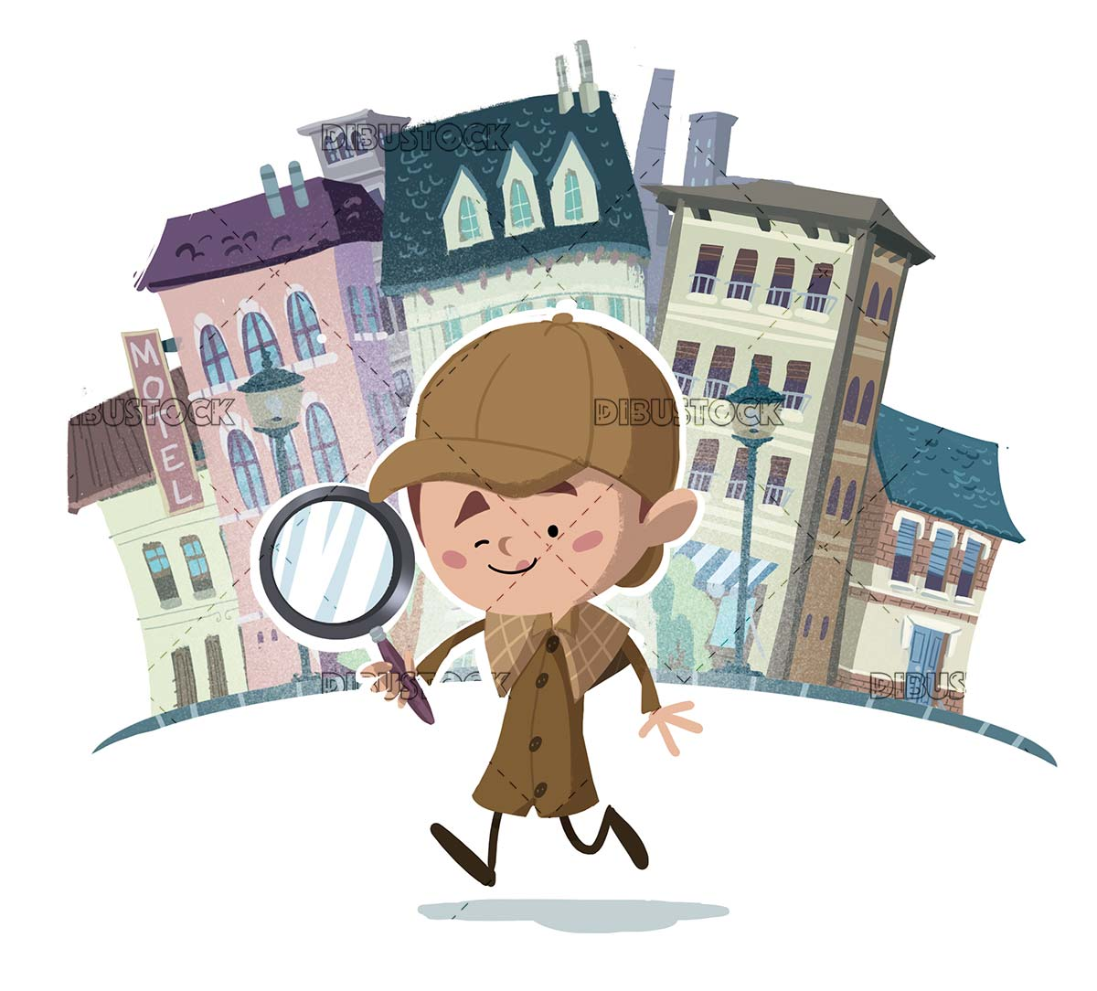 Detective boy with magnifying glass investigating the city