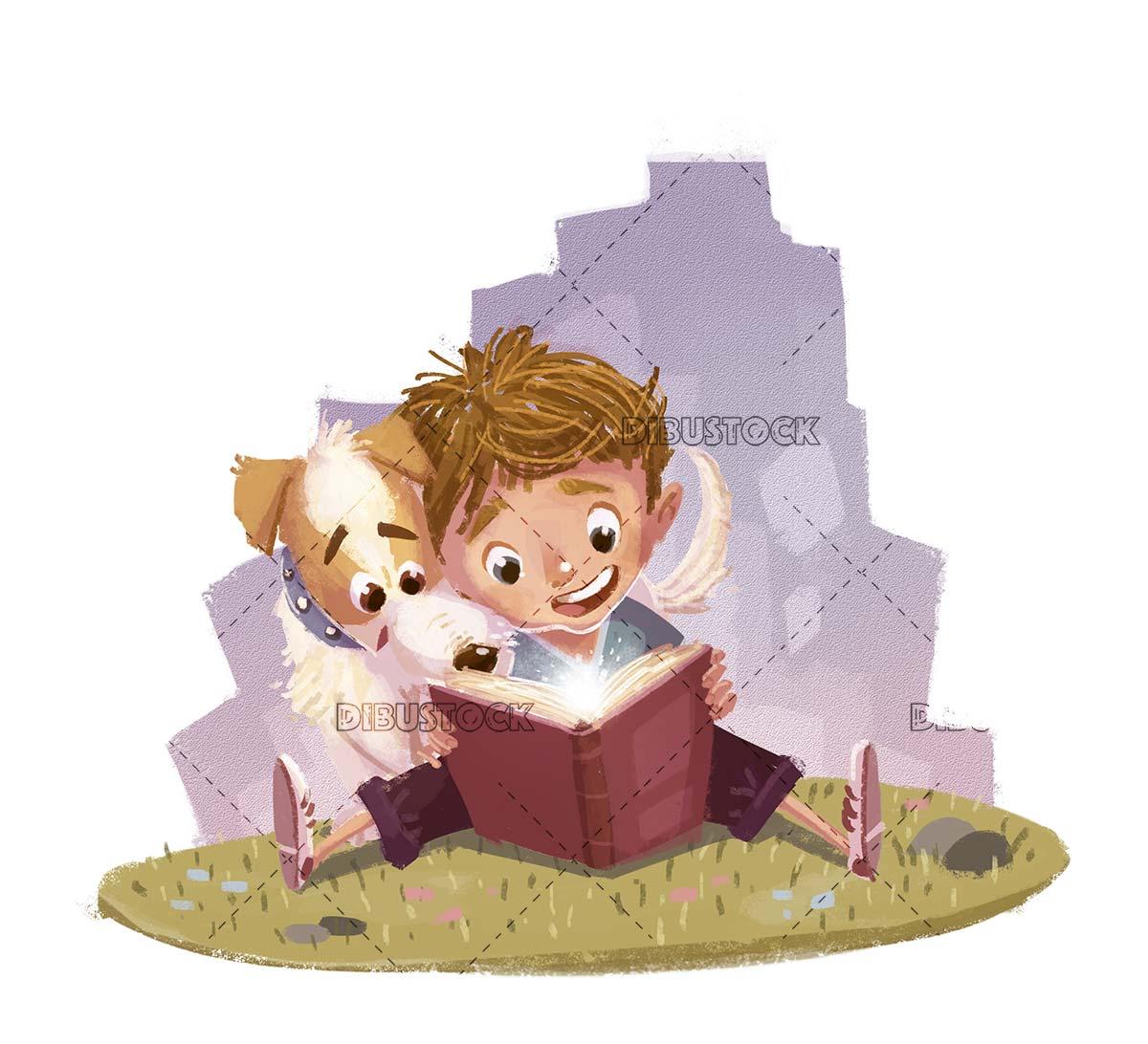 Dog and boy reading a fantasy book